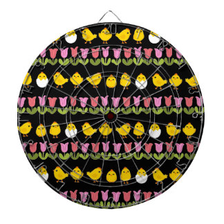 Easter - chick and tulips dartboard with darts