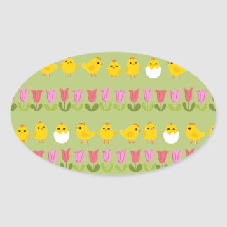 Easter - chick and tulips oval sticker
