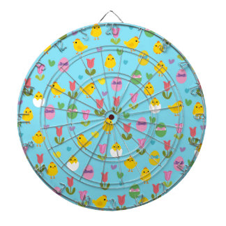 Easter - chick and tulips pattern dartboard with darts