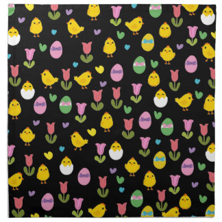 Easter - chick and tulips pattern napkin
