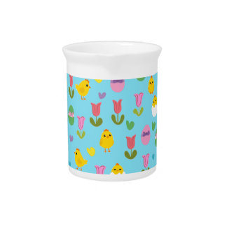 Easter - chick and tulips pattern pitcher