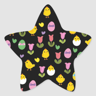Easter - chick and tulips pattern star sticker