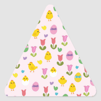 Easter - chick and tulips pattern triangle sticker