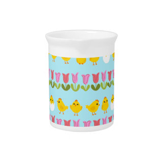 Easter - chick and tulips pitcher