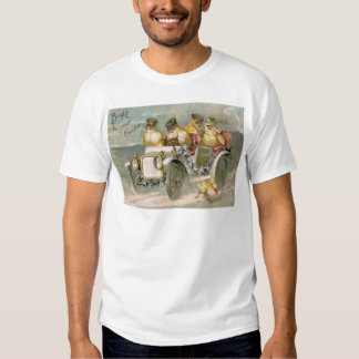 Easter Chick Antique Car Forget-Me-Not Tshirt