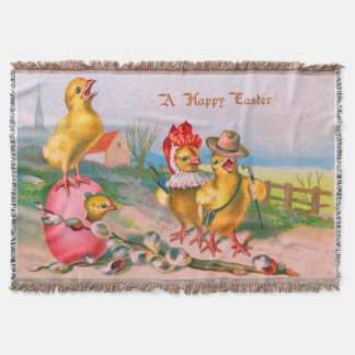 Easter Chick Colored Egg Cotton Throw Blanket