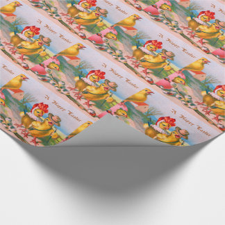 Easter Chick Colored Egg Cotton Wrapping Paper
