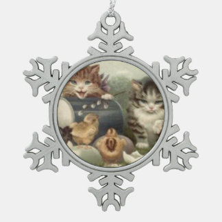 Easter Chick Colored Egg Kitten Cat Pewter Snowflake Decoration