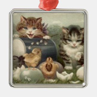 Easter Chick Colored Egg Kitten Cat Silver-Colored Square Decoration