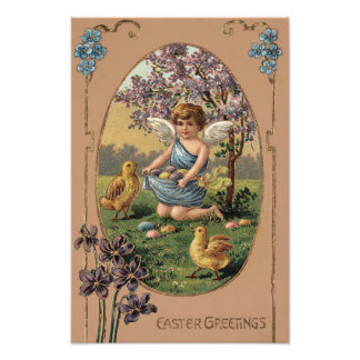 Easter Chick Colored Painted Egg Cherry Tree Photograph
