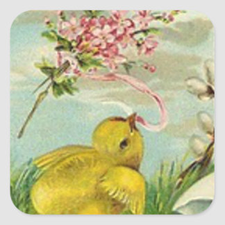 Easter Chick Cotton Pink Daisy Square Sticker