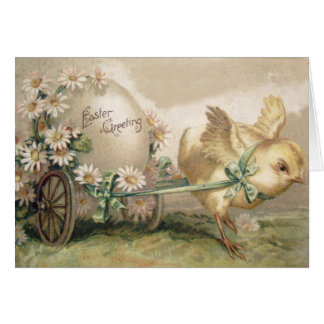 Easter Chick Egg Carriage Daisy Greeting Card