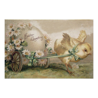 Easter Chick Egg Carriage Daisy Poster