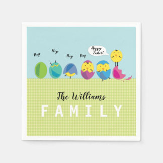 Easter Chick Family Name Disposable Serviette