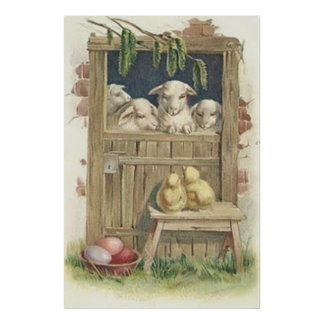 Easter Chick Lamb Barn Colored Painted Egg Print