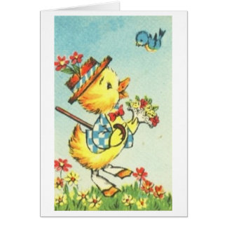 Easter Chick with Bluebird! Retro Easter Card