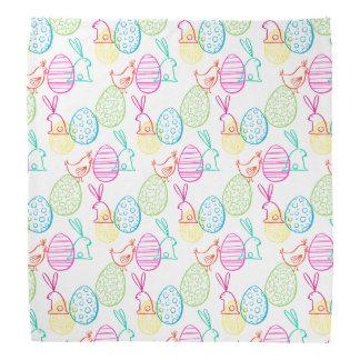 Easter chicken bunny sketchy illustration pattern bandana