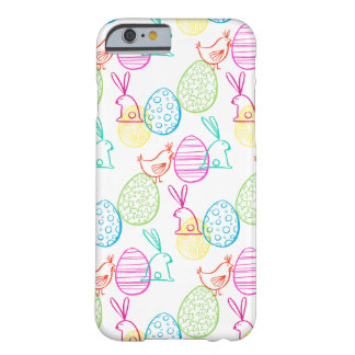 Easter chicken bunny sketchy illustration pattern barely there iPhone 6 case