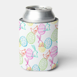 Easter chicken bunny sketchy illustration pattern can cooler