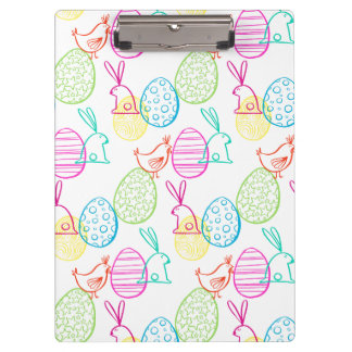 Easter chicken bunny sketchy illustration pattern clipboard