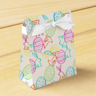 Easter chicken bunny sketchy illustration pattern favour box