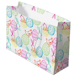 Easter chicken bunny sketchy illustration pattern large gift bag