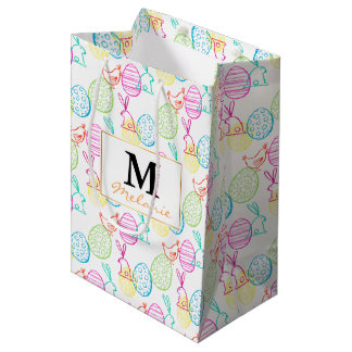 Easter chicken bunny sketchy illustration pattern medium gift bag