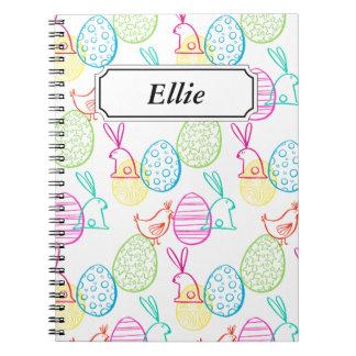 Easter chicken bunny sketchy illustration pattern notebook