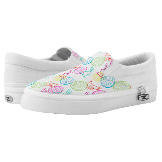 Easter chicken bunny sketchy illustration pattern Slip-On shoes