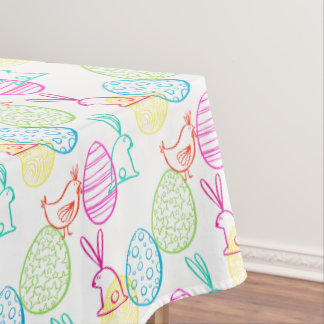 Easter chicken bunny sketchy illustration pattern tablecloth