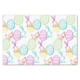 Easter chicken bunny sketchy illustration pattern tissue paper