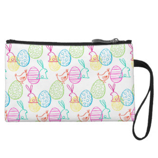 Easter chicken bunny sketchy illustration pattern wristlet