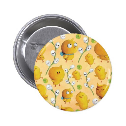 Easter chickens & Catkins Pattern Button