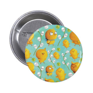 Easter chickens Catkins Pattern Button