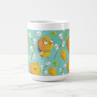 Easter chickens & Catkins Pattern Coffee Mug