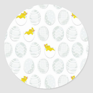 easter chickens classic round sticker