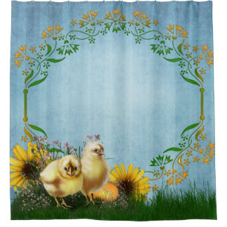 Easter Chickens Shower Curtain