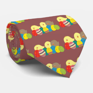 Easter Chicks Cartoon Cute Colorful Ornate Eggs Tie