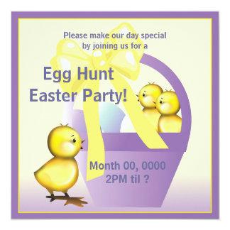 "Easter Chicks Egg Hunt Party Invite 5.25"" Square Invitation Card"