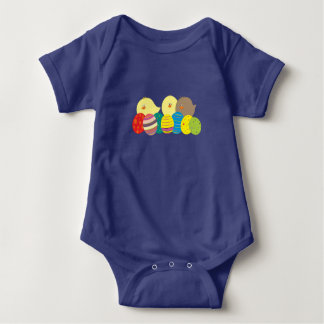 Easter Chicks Funny Cartoon Cute Colorful Eggs Baby Bodysuit