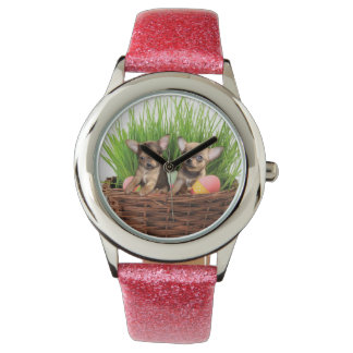 Easter Chihuahua puppies Wrist Watches