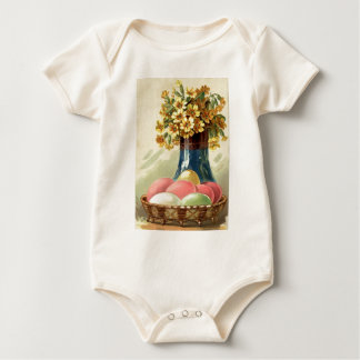 Easter Colored Painted Egg Vase Yellow Daisy Baby Bodysuit