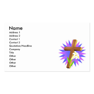 easter cross and lily design business card templates