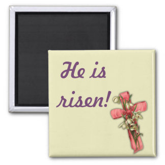 Easter Cross - He is risen! Square Magnet