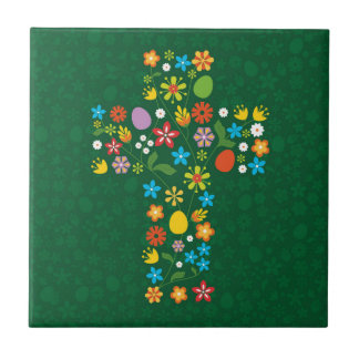 Easter Cross Small Square Tile