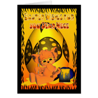 Easter, Cute little cat painting eggs, orange Greeting Card