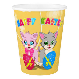 Easter Cutie Grey and Pink Kittens Cartoon