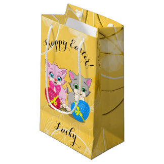 Easter Cutie Grey and Pink Kittens Cartoon Small Gift Bag