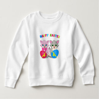 Easter Cutie Grey and Pink Kittens Cartoon Sweatshirt