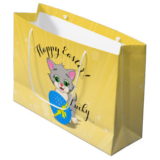 Easter Cutie Grey Kitten Cartoon Large Gift Bag